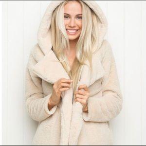 Brandy Melville hooded fur jacket